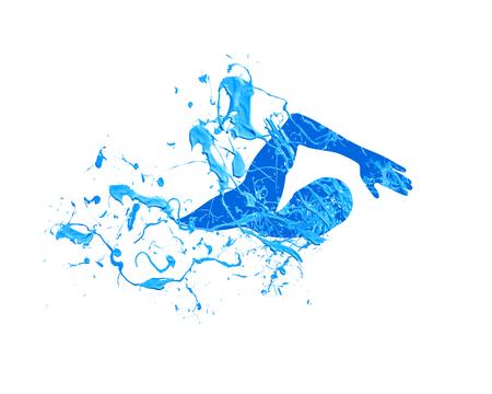 수영 남자. 스플래시 파란색 페인트 벡터 일러스트 레이션