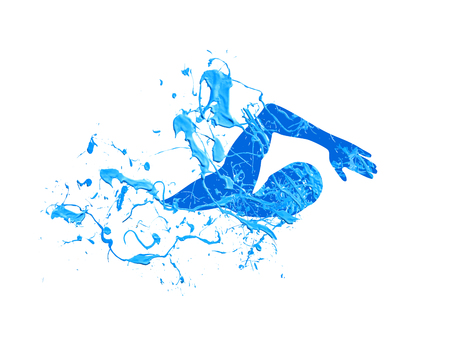 Swimming man. Splash blue paint vector illustration