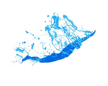 Swimming man. Vector blue splash paint on white