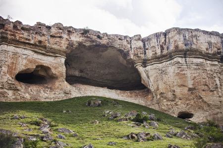 white rock: Caves in White Rock in Crimea. Mount Ak-Kaya