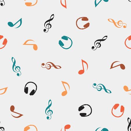 quaver: Seamless vector musical pattern - Quaver Notes, headphones, treble clef
