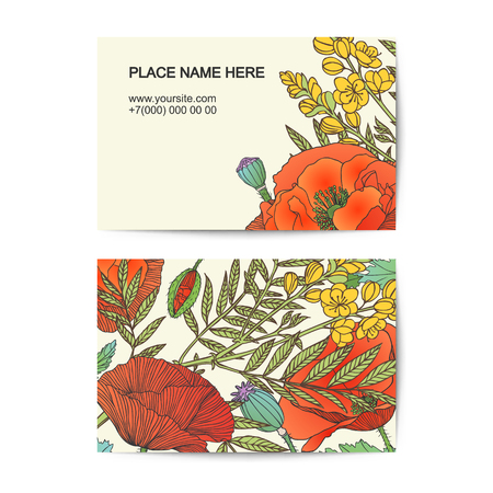 florist: visiting card vector template with senna and poppy flowers for florist salon