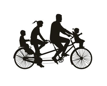 Tandem: Family walk on tandem bike. Black on white silhouette
