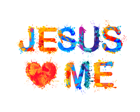 Jesus loves me. Vector watercolor splash paint