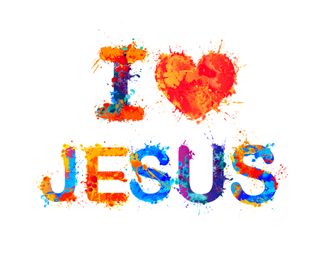 I love Jesus. Vector watercolor splash paint