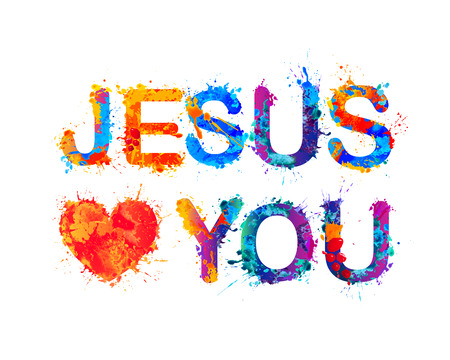 loves: Jesus loves you. Vector watercolor splash paint