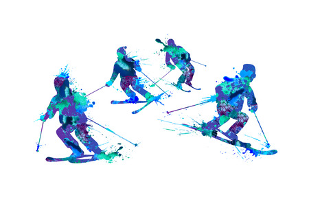 skiers: Mountain skiers family. Spray paint on a white background