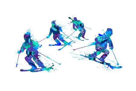 Montagna sciatori famiglia. Vernice spray su uno sfondo bianco