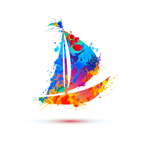 Boat of vector watercolor splash paint on white 向量圖像