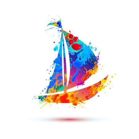 Boat of vector watercolor splash paint on white Illustration