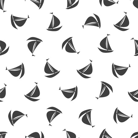 Seamless vector black and white pattern - ship