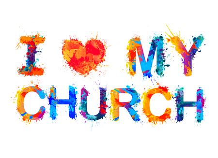 Kocham mój kościół. Wektor akwarela powitalny farby