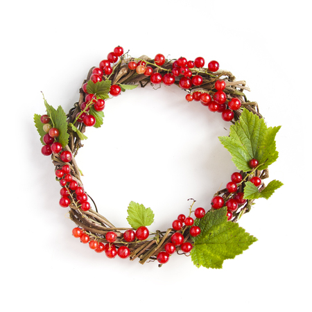 currants: Wreath with currants isolated on white background