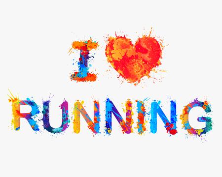 I love running. Vector splash paint inscription