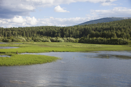 urals: River in the Urals. Cloudy sky Stock Photo