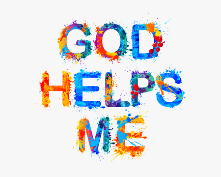 helps: God helps me.  Watercolor vector splash paint Illustration