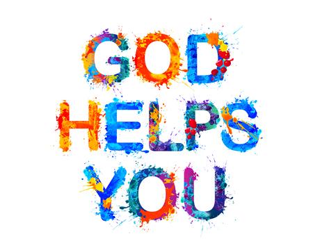 evangelical: God helps you.  Watercolor vector splash paint