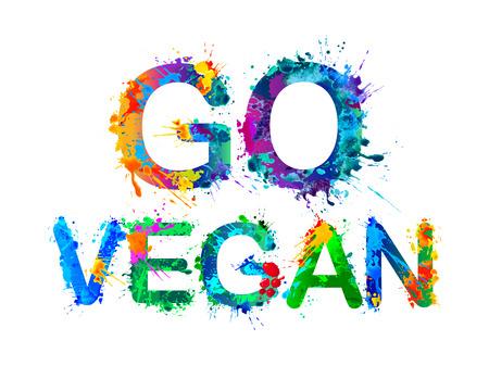 Zum Veganer werden. Vector Splash Aquarell malen Inschrift