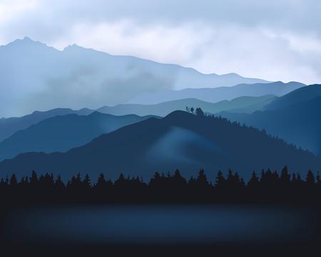 自然風景 - ブルーマウンテンズのシルエット