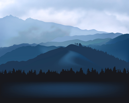 Nature landscape - silhouettes of blue mountains