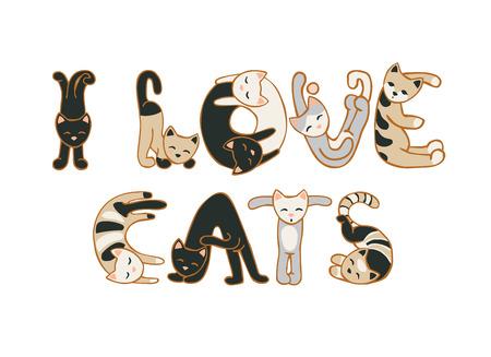 Amo a los gatos. inscripción de vectores de letras gatos