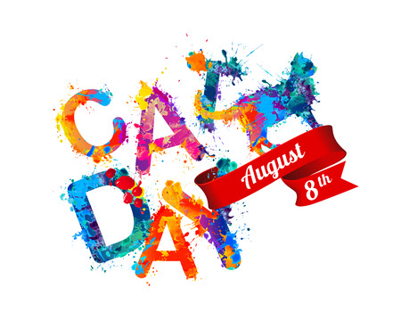 august: Cat day. August 8 holiday. Inscription of splash paint letters Illustration