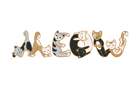pussycat: Word MEOW of cats. Vector flat illustration
