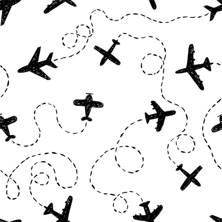 ways: Seamless vector black and white pattern - doodle airplanes with ways Illustration