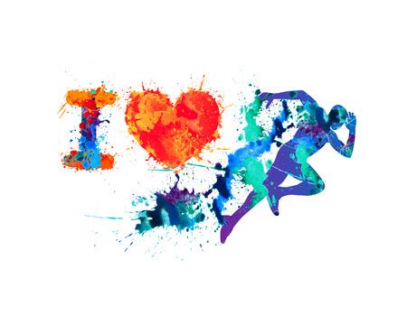 I love run symbol. Running man of splash paint Vettoriali