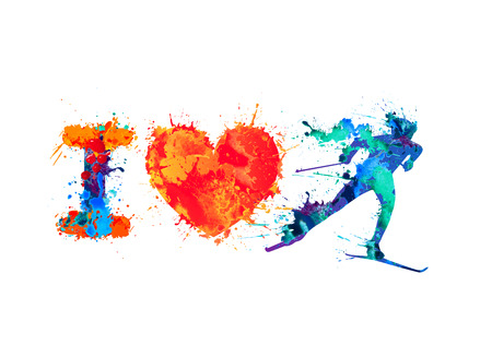 I love skiing. Skier of vector watercolor splash paint