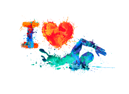 I love swimming. Swimmer of watercolor splash paint Illustration