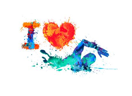I love swimming. Swimmer of watercolor splash paint Vettoriali