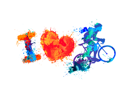 I love cycling. Watercolor vector splash paint sign Illustration