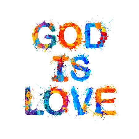 Gott ist Liebe. Vektor Aquarell Spritzer Farbe