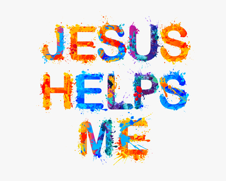 helps: Jesus helps me. Vector watercolor splash paint