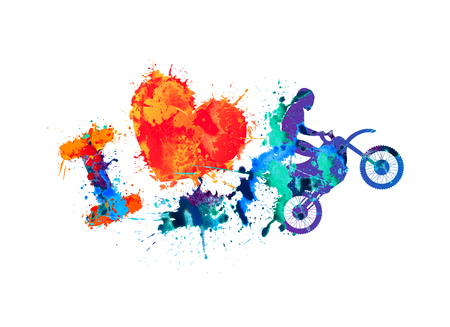 fmx: I love motorcycling. Watercolor splash paint sign