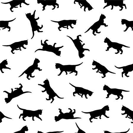 Naadloze vector klomp - kitten zwarte silhouetten Stock Illustratie