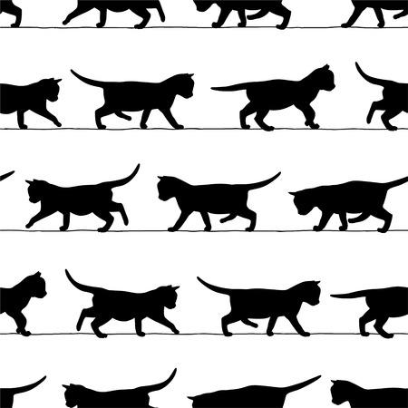 Naadloze vector klomp - lopen kitten zwarte silhouetten