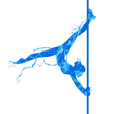 Pooldans silhouet van verfplons