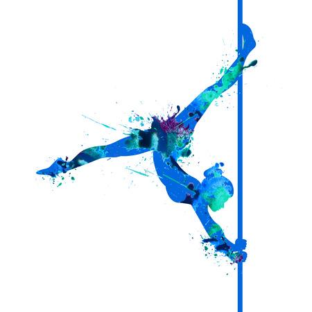 Pole dance woman silhouette of splash paint