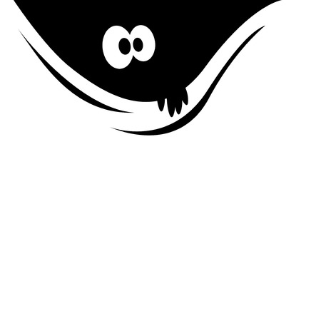 Sticker on a car or a refrigerator. Curious eyes looking out of the darkness. Illustration
