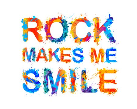 Rock makes me smile. Vector watercolor inscription