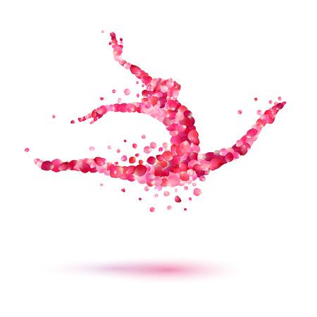 bailarina de la silueta del vector de color rosa pétalos de rosa