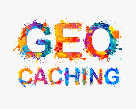 geocaching: Geocaching. Multicolored watercolor splash paint vector word