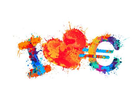 love of money: I love euro (money). Vector watercolor splash paint