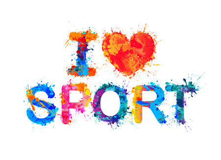 I love sport. Vector watercolor splash paint inscription
