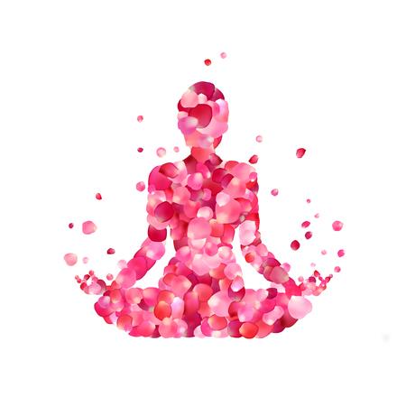 Yoga lotus pose silhouette of rose petals
