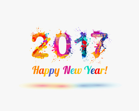 paints: Congratulation vector card. Happy New Year 2017