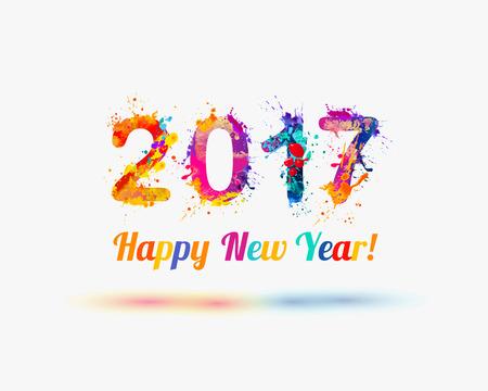Congratulation vector card. Happy New Year 2017