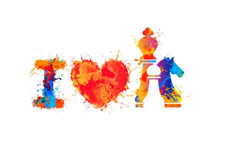 i mate: I love chess vector sign. Watercolor splash paint Illustration